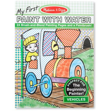 Melissa doug my first paint with water coloring book vehicles 24 painting pages