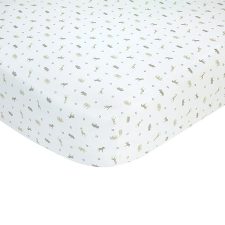 Carter's 100% Cotton Sateen Fitted Crib Sheet - Taupe Safari