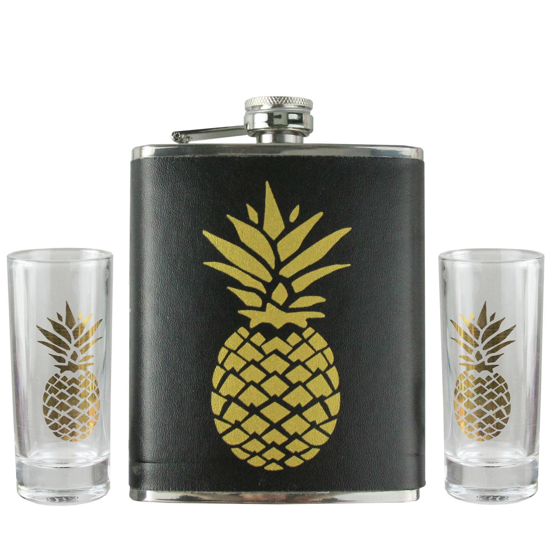 3-Piece Black and Metallic Gold Tropical Pineapple Flask and Shot Glass Set - image 2 de 2