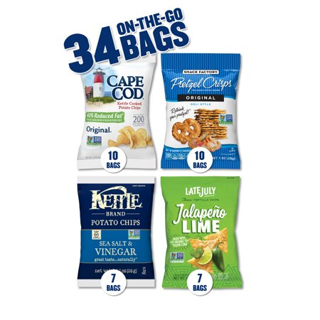 Snacks Variety Pack with Kettle Brand and Cape Cod Potato Chips, Late July Tortilla Chips & Snack Factory Pretzel Crisps, 34 - Cape Cod Oyster