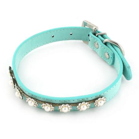 Pet Faux Leather Flower Design Dog Cat Adjustable Belt Decoration Collar Blue M