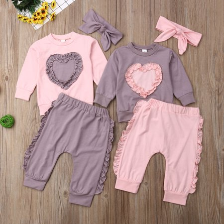 Infant Baby Girl Long Sleeve Suit Love Shape Tops Pants Cotton Outfit (Shape Suit)