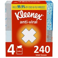 Kleenex Anti-Viral Facial Tissues, 4 Cube Boxes (240 Total Tissues)