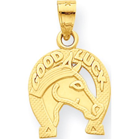 Leslies Fine Jewelry Designer 10k Yellow Gold Good Luck Horseshoe w/Horse (11x20mm) Pendant (Good Luck Wedding Horseshoes)