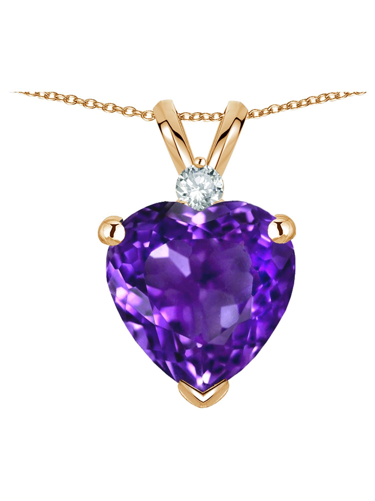 Star K 8mm Genuine Amethyst Heart Pendant Necklace in 14 kt Yellow Gold by