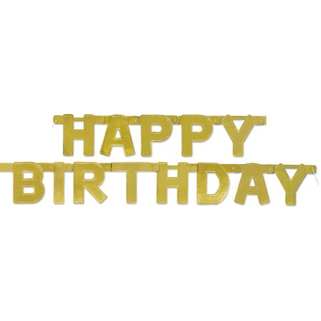 Happy Birthday Banner, 4 ft, Gold, 1ct