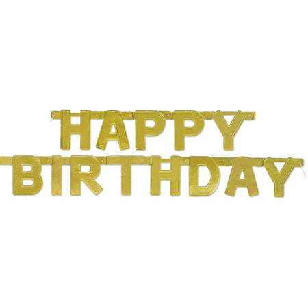 Gold Happy Birthday Banner, 4.25ft - Happy Birthday Sig