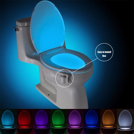 Motion Sensor Toilet Seat Lighting 8 Colors Backlight Toilet Bowl Automatic Night Lamp 3*AAA Seat Sensor Light LED Toilet (Light Sensor Kit)