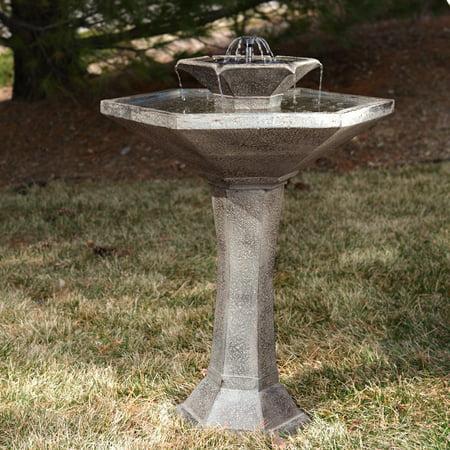 Solar Birdbath Weathered Stone - Smart Solar Alfresco 2-Tier Solar Bird Bath Fountain
