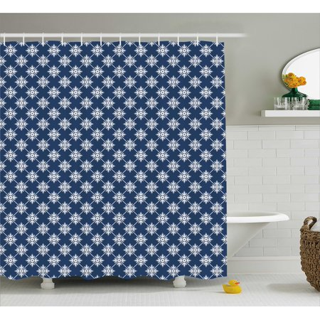 Indigo Shower Curtain Ancient Greek House Tile Inspired Design With Fl Flower Leaf Details Fabric Bathroom Set Hooks Navy Blue And White