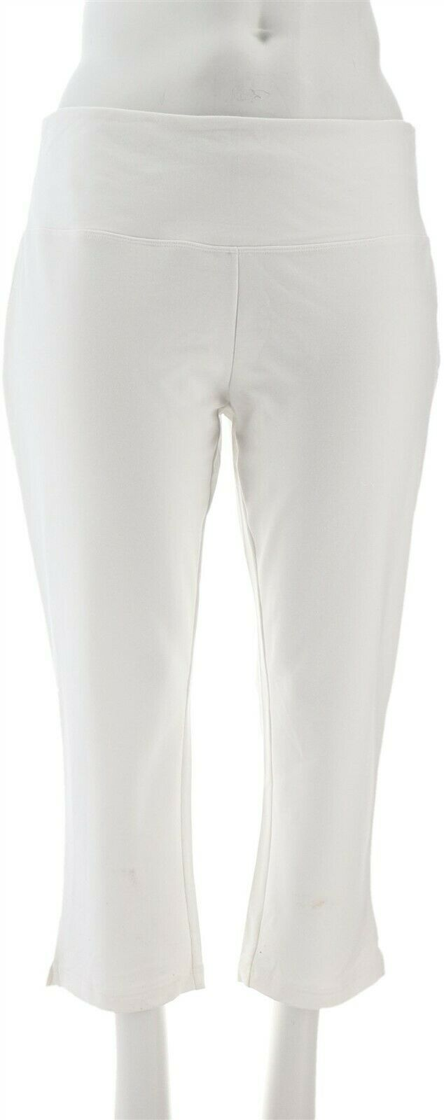 Belle Kim Gravel Knit Pull-On Crop Leggings White M NEW A288974