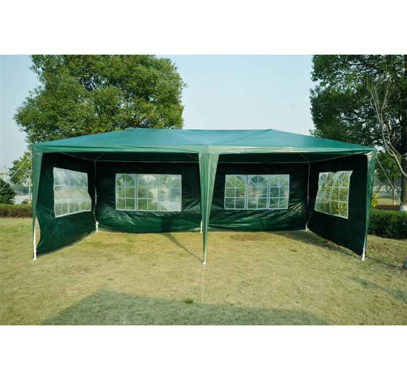 Outsunny 10' x 20' Gazebo Canopy Party Tent w/ 4 Removable Side Walls - Green