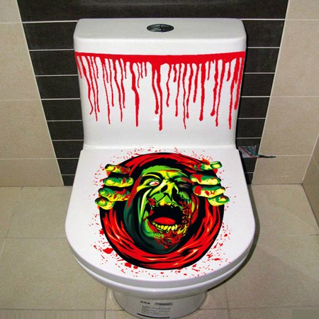 Bloody Knife Prop (DZT1968 Bloody Hand Toilet Cover Party Decoration Sticker Prop Scary)