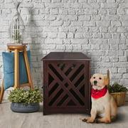 "Modern Lattice Wooden Pet Crate End Table, Espresso, Medium, 33""L"