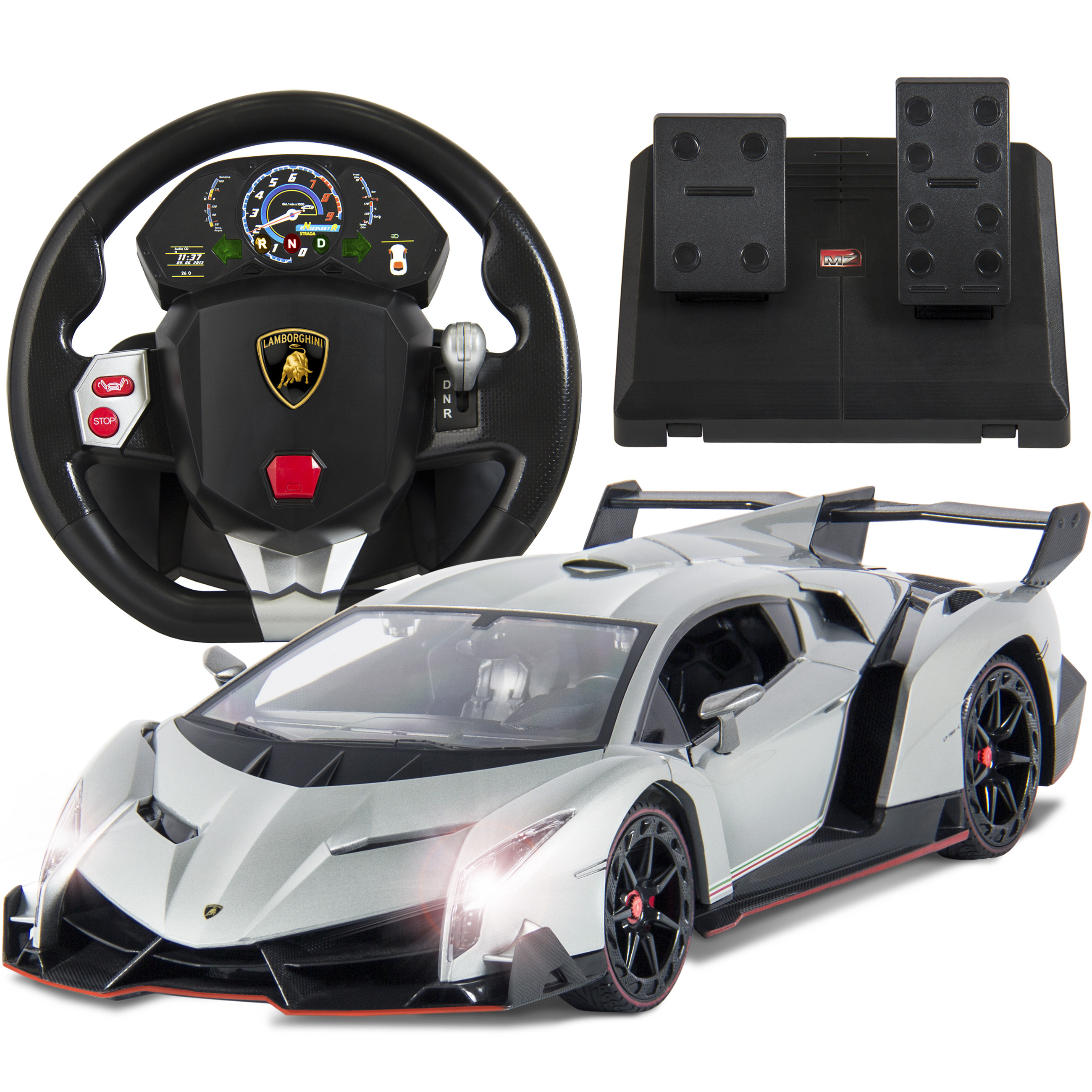 Best Choice Products 1/14 Scale RC Lamborghini Veneno Realistic Driving Gravity Sensor Remote Control Car Silver