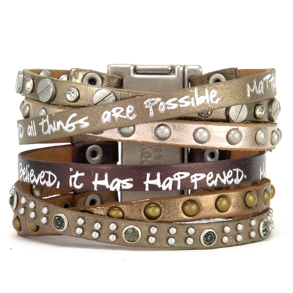 Women's Because You Believe Scripture Verses Matthew 19:26, 8:13 Wrap Bracelet