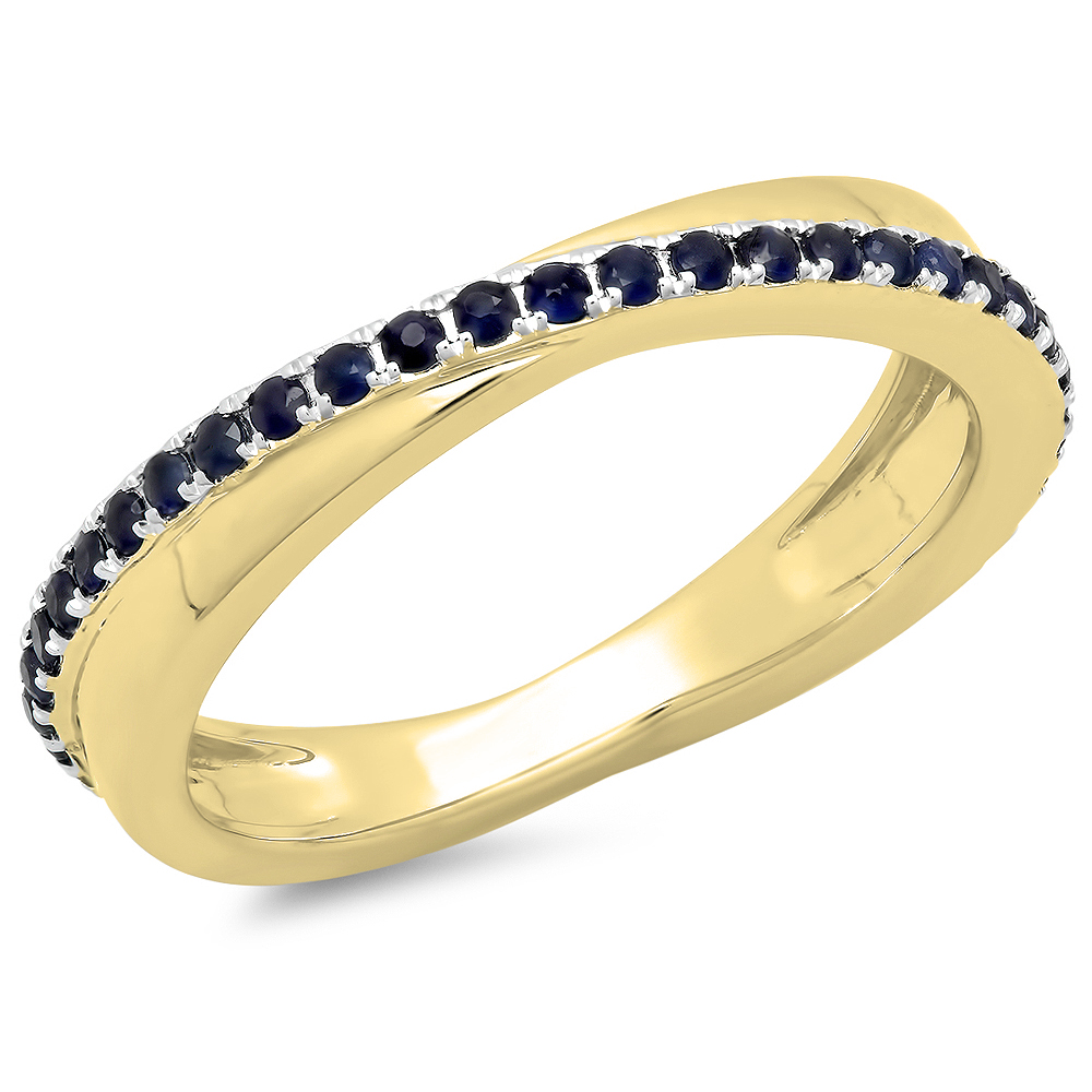 0.50 Carat (ctw) 10K Gold Round Blue Sapphire Ladies Wedding Anniversary Eternity Band Ring 1/2 CT