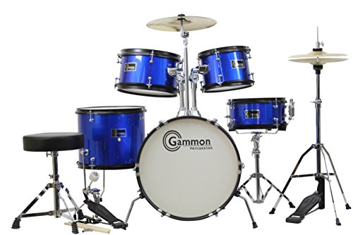 Complete 5-Piece Black Junior Drum Set with Cymbals Stands Sticks Hardware & Stool Blue by