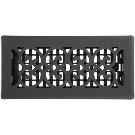 "Décor Grates® 4"" x 10"" Scroll™ Steel Painted Textured Black Floor Register Pack"