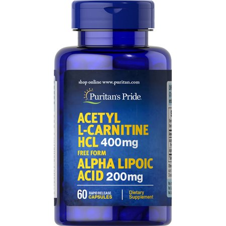 Puritan's Pride Acetyl L-Carnitine Free Form 400 mg with Alpha Lipoic Acid 200 mg 60