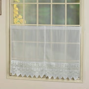 "VALERIE 52"" X 38"" WINDOW CURTAIN PAIR OF CAFE KITCHEN SWAGS WHITE"