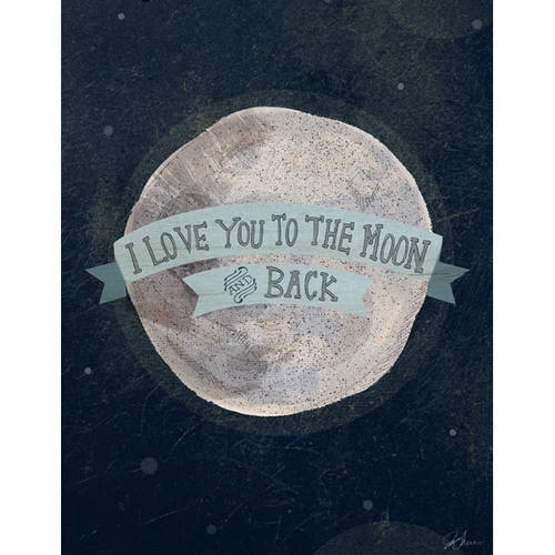 Oopsy Daisy's I Love You To The Moon, Blue Canvas Wall Art, Size 14x18