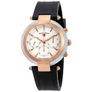 16175Sm-Sr-02-Wht Madison Diamond Multi-Function White Silicone And Dial Rose-Tone Bezel Watch