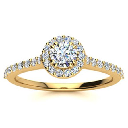 1/2 Carat Perfect Halo Diamond Engagement Ring In 14 Karat Yellow