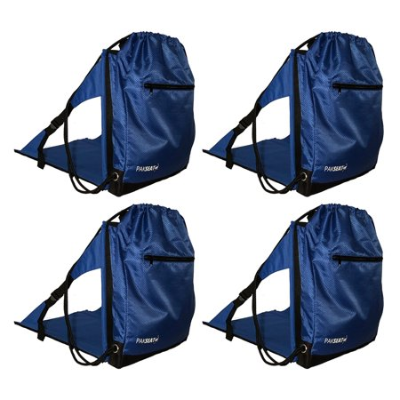 Ostrich PakSeat Padded Folding Stadium Seat Backpack String Bag, Blue (4 Pack)