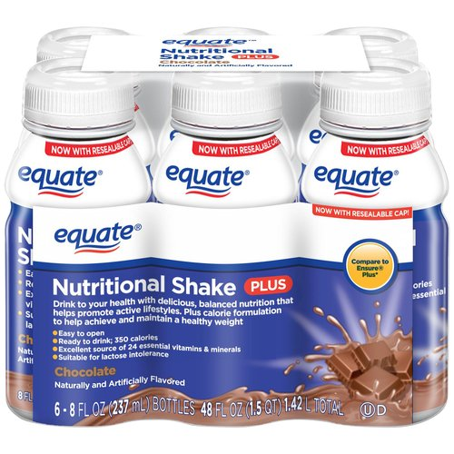 Equate Chocolate Nutritional Shake Plus, 8 fl oz, 6 count