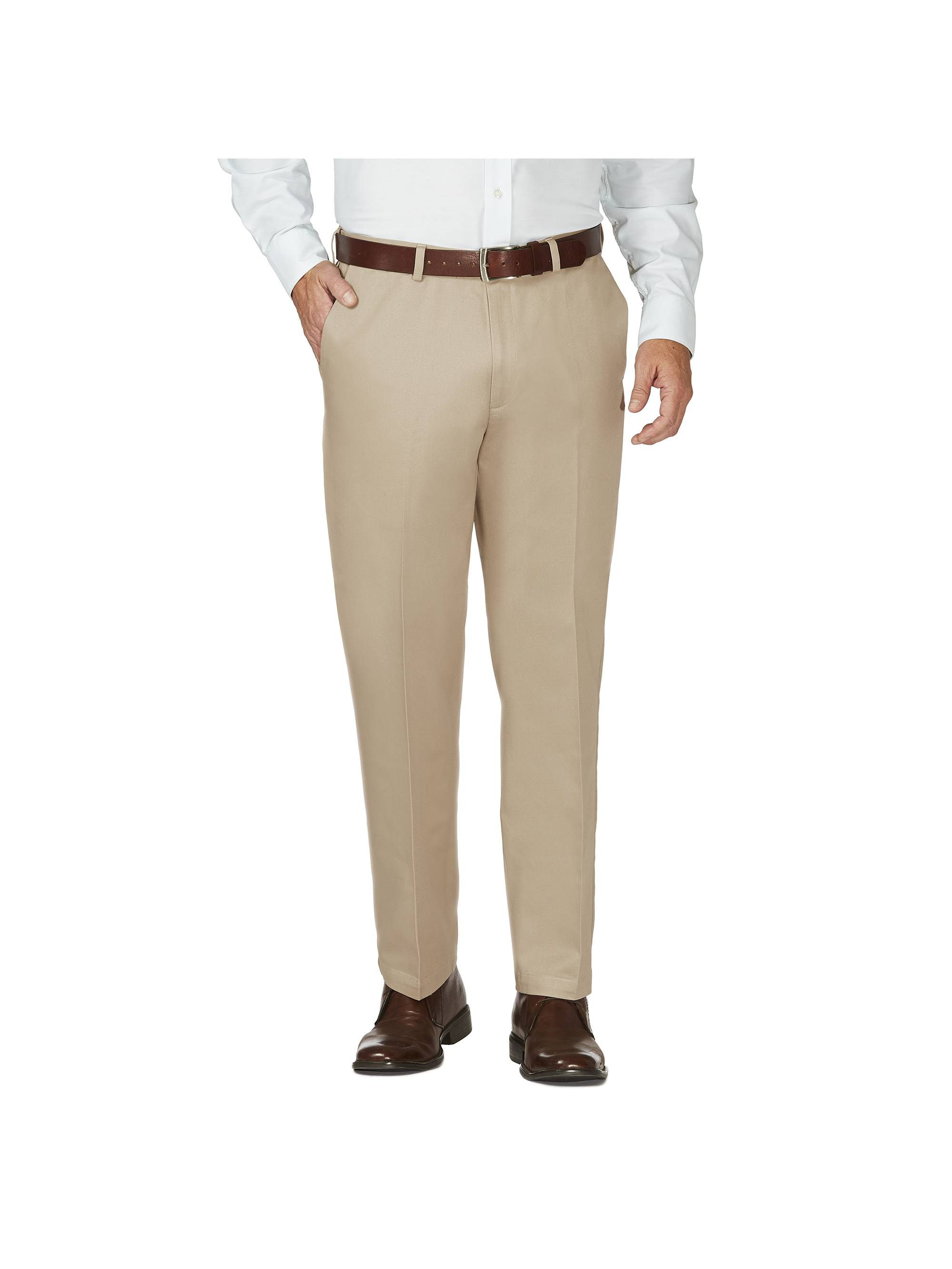 men's work to weekend hidden expandable waist no iron plain front pant,bark,36x34