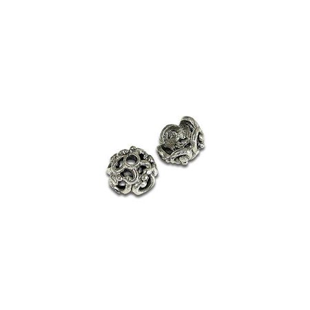 Bead Cap - Scalloped 6mm Pewter Antique Silver Plated (2-Pcs)