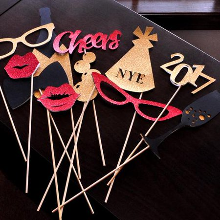 New Years Eve Photo Booth Props. Handcrafted in 1-3 Business Days. Set of 11 Props. New Years Eve Decorations 2017.