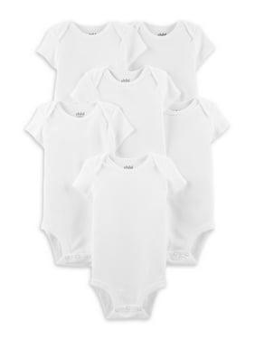 Child of Mine By Carter's Baby Boy or Girl Gender Neutral White Short Sleeve Bodysuits, 6-Pack