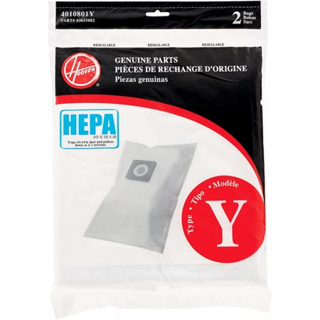 DirtDevil 4010801Y Hepa Y Filtration Bags For Hoover Upright Cleaners, 2pk/ea