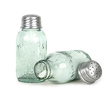 Mason Jar Salt - Mason Jar Salt or Pepper Shaker, Mini Mason Jar^Salt Shaker or Pepper Shaker^1 1/2 diameter^3 3/4 tall^Priced and sold individually By Colonial Tin Works