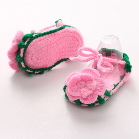 Crib Crochet Casual Baby Girls Handmade Knit Sock Roses Infant Shoes