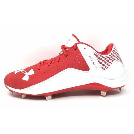 20d870781 Under Armour Mens Yard Low Metal Baseball Cleats Red   White Size 15 -  Walmart.com