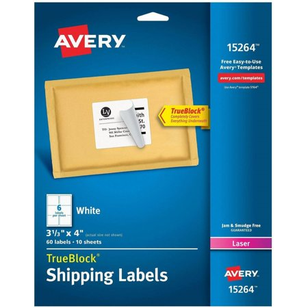 Avery White Shipping Labels With Trueblock Technology 15264  3 1 3  X 4   Laser Inkjet  60Pk