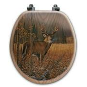 WGI-GALLERY November Whitetail Deer Oak Round Toilet Seat