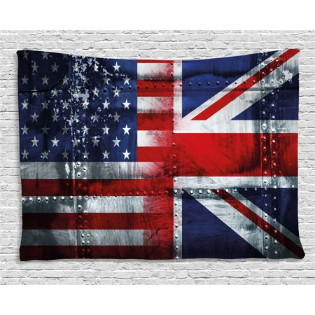 Union Jack Tapestry, Alliance Togetherness Theme Composition of UK and USA Flags Vintage, Wall Hanging for Bedroom Living Room Dorm Decor, 60W X 40L Inches, Navy Blue Red White, by Ambesonne