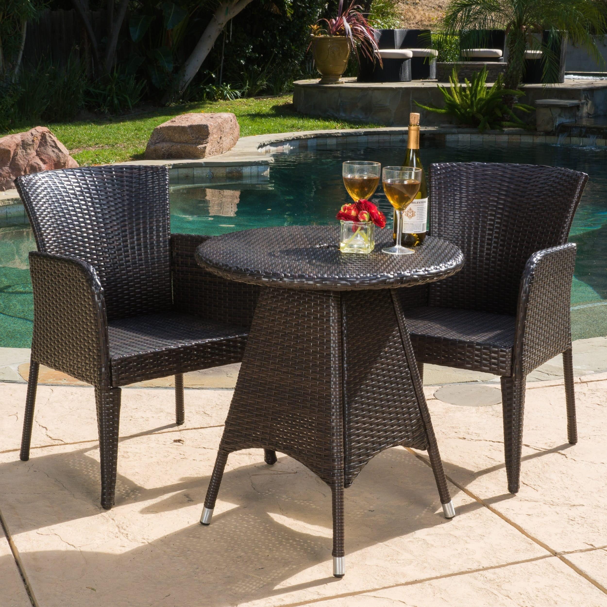 Christopher Knight Home Brayden Outdoor 3-piece Wicker Bistro Set by