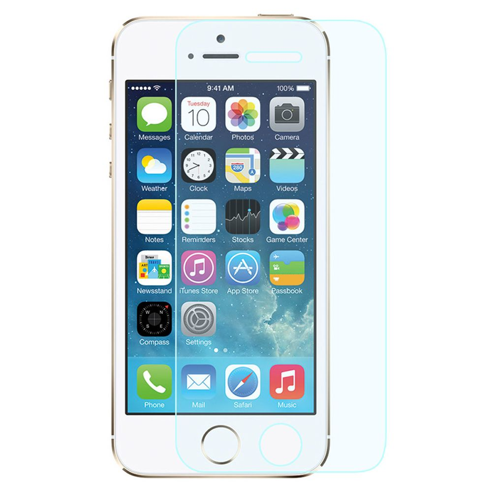 iPhone 5s Tempered Glass Screen Protector, by Insten Clear HD Glass Screen Protector Guard For Apple iPhone SE 5 5S