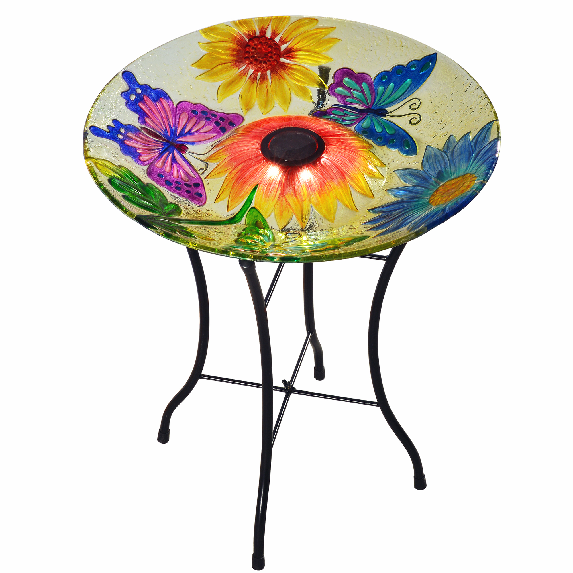 Peaktop Outdoor 18-Inch Butterfly Fusion Glass Solar Birdbath w  Stand by Teamson Design Corp.