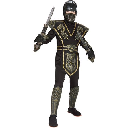 Gold Dragon Warrior Ninja Child Halloween Costume - Male Warrior Costume