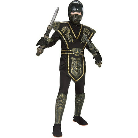 Gold Dragon Warrior Ninja Child Halloween Costume - White Ninja Costumes For Kids