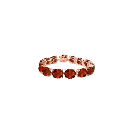 Oval Garnet Bracelet in 14K Rose Gold Vermeil 50 CT TGW - January Birthstone Jewelry - image 3 de 3