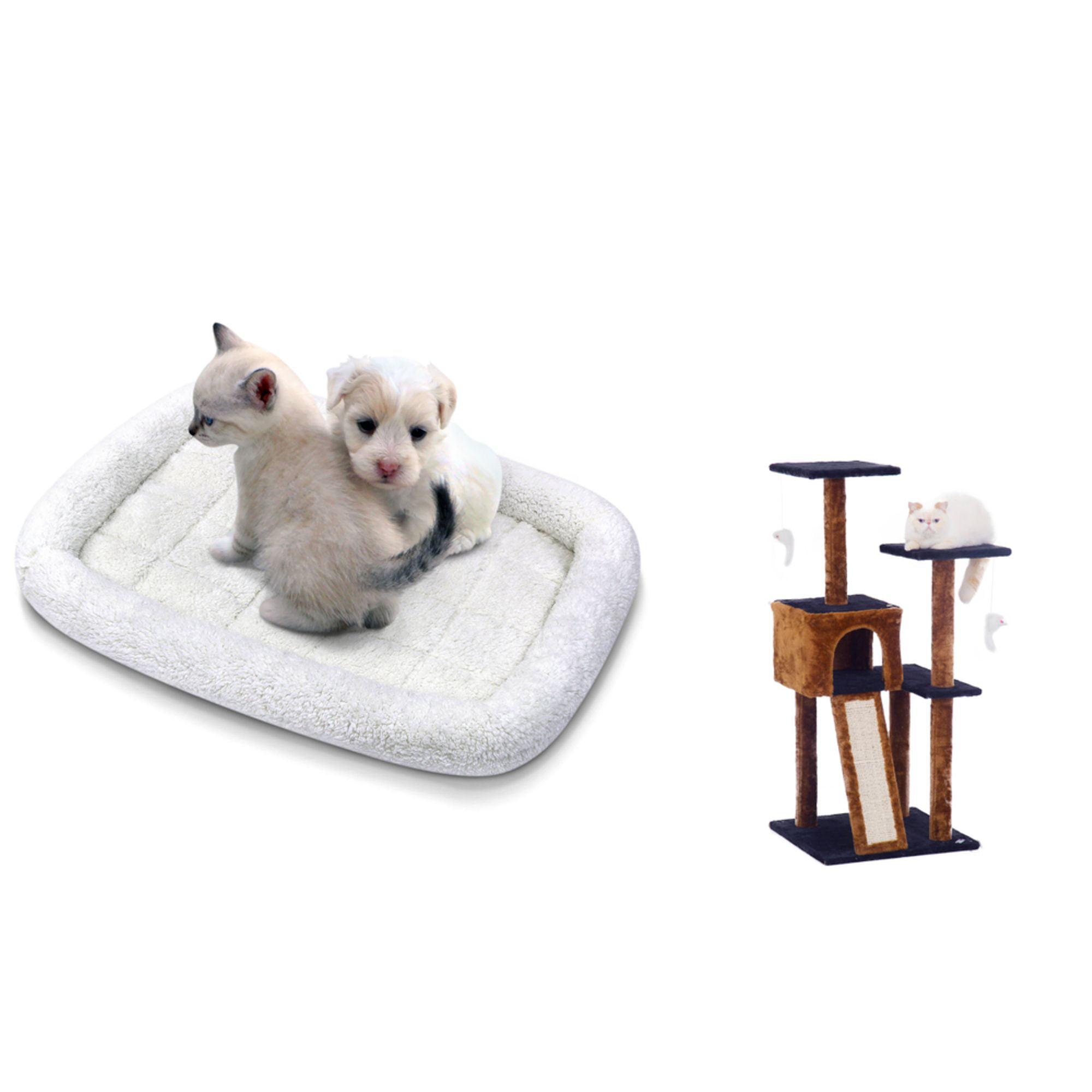 Cat Tree Dark Brown Blue Pet Fleece Comforter Crate Bed