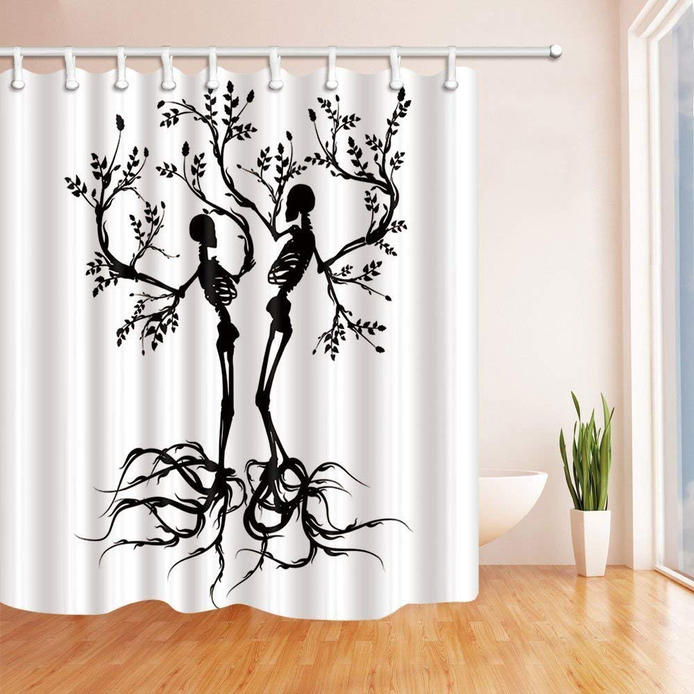 Bsdhome Abstract Art Skeleton Couple Like Tree Artwork Print Polyester Fabric Bath Curtain Bathroom Shower Curtain 66x72 Inches Walmart Canada