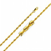 Precious Stars SEC0149200 Yellow Gold 2. 5 mm.  Hollow Rope Chain 20 inch Necklace